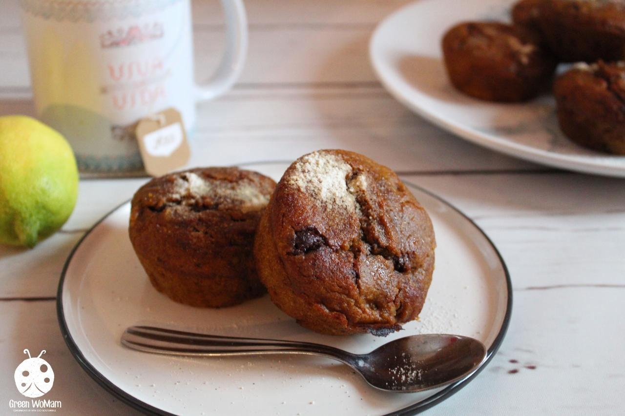 Muffin zucca e cioccolato (senza lievito, burro, uova e zucchero)