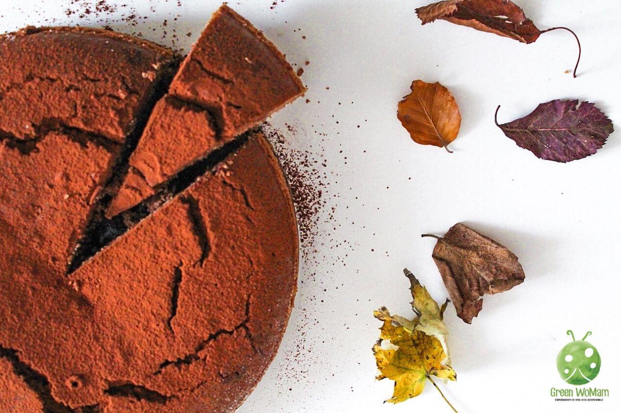 torta di castagne e cioccolato senza burro e senza lievito